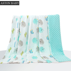 Double layers super soft fleece and muslin blanket