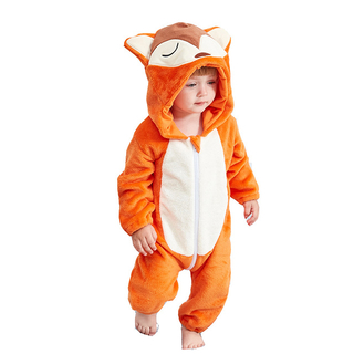 Flannel Fleece Fox Baby Jumpsuit